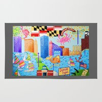 baltimore Area & Throw Rugs featuring Baltimore, Maryland by Karen Riddle