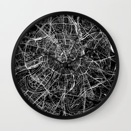 Moscow Black Map Wall Clock