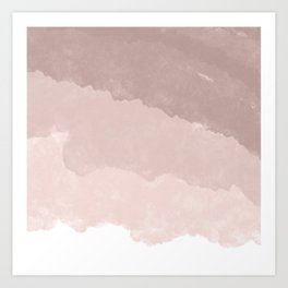 Modern white rose gold color block ombre pattern Art Print