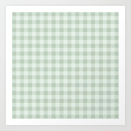 Gingham Pattern - Light Green Art Print