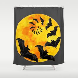 HALLOWEEN BAT INFESTED HAUNTED MOON ART DESIGN Shower Curtain