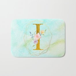 Gold Foil Alphabet Letter I Initials Monogram Frame with a Gold Geometric Wreath Bath Mat