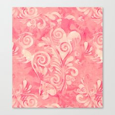 Cute watercolor pink hearts pattern Canvas Print