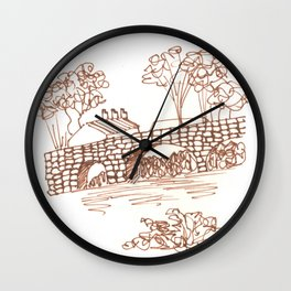 Stone Bridge  Line Art Wall Clock