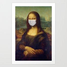 Mona Lisa with Respirator Mask Art Print