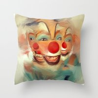 clown Throw Pillows featuring clown by robotrake