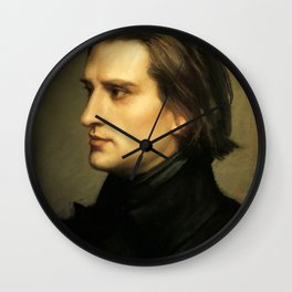 Franz Liszt (1811-1886) at 29. Painting by Charles Laurent Marechal (1801-1887). Wall Clock