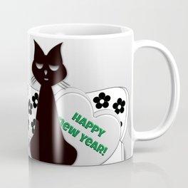 Black and White Cats on Sofa Christmas Coffee Mug