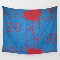 robots Wall Tapestries featuring Square Blue Robots by ObnoxiousBoyMan