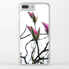 Pink Magnolia Buds on White Clear iPhone Case
