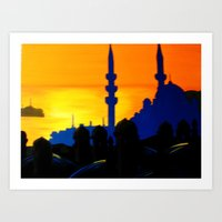 Sunset over Blue Art Print