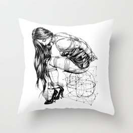 Lady on Cube Throw Pillow