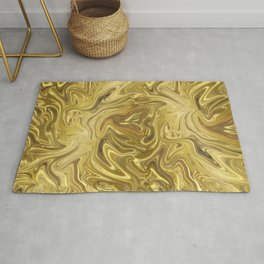 Rich Gold Shimmering Glamorous Luxury Marble Rug