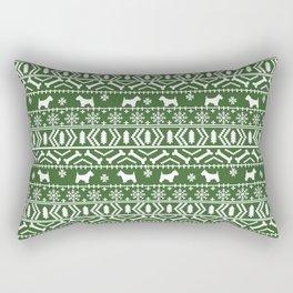 Westie fair isle west highland terrier christmas holiday gifts dog pattern green Rectangular Pillow