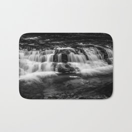 Welsh Waterfall in black and white Bath Mat