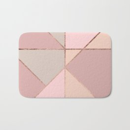 Modern rose gold peach blush pink color block Bath Mat