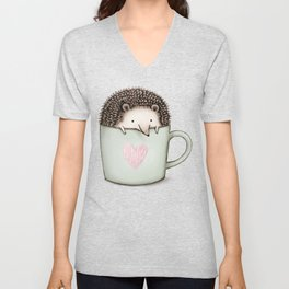 Hedgehog in a Mug Unisex V-Neck