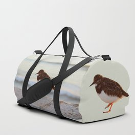 Sandpiper bird enjoying some relaxing time by the sea Duffle Bag