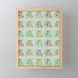 Penny Farthing Vintage Pastel Green Repeat Pattern Framed Mini Art Print