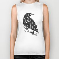literary Biker Tanks featuring Quoth the raven by Literary Mint
