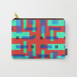 Blue and Green Block City on Red Carry-All Pouch