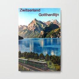 Zwitserland Gotthardlijn Vintage Travel Poster Metal Print