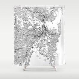 Sydney White Map Shower Curtain