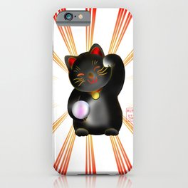 Lucky cat, black maneki iPhone Case