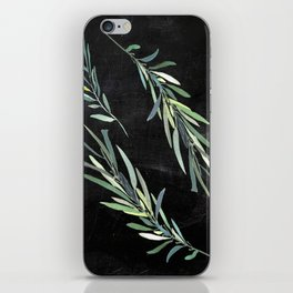 Eucalyptus leaves on chalkboard iPhone Skin