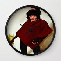 lydia martin Wall Clocks featuring Lydia Deetz by Mastodon