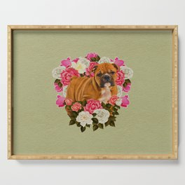 English Bulldog Puppy with flowers Serving Tray