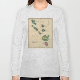 Vintage Map of The Leeward Islands (1822) Long Sleeve T-shirt