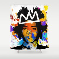 basquiat Shower Curtains featuring BASQUIAT by SebinLondon
