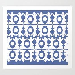 Blue Yoga Pattern Art Print