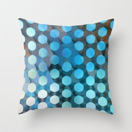 Circles on Triangles Ocean Blues Throw Pillow