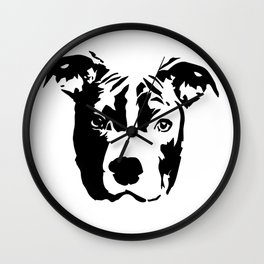 Pit Bull Dog black white Wall Clock