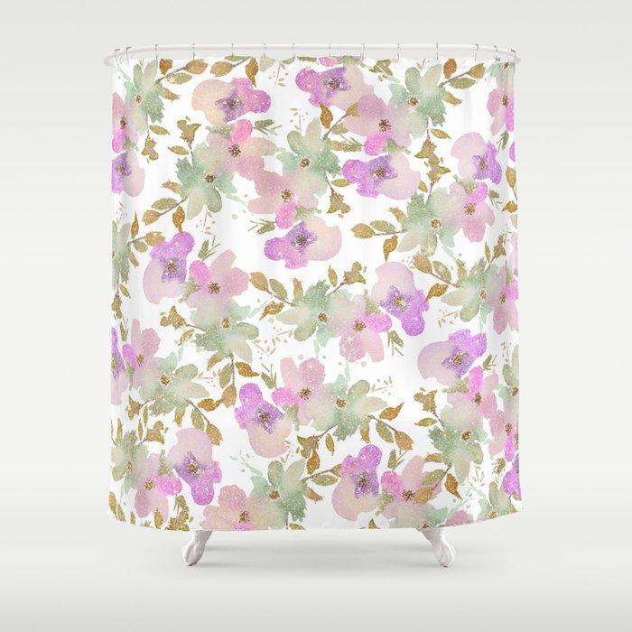 Pink Violet Mint Green Gold Glitter Floral Shower Curtain