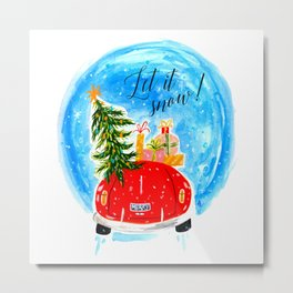Dashing Through The Snow - Holiday Car Christmas Tree Metal Print