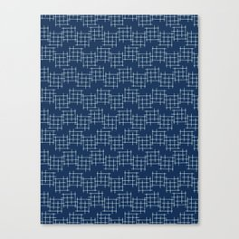 Indigo Blue Japanese Style Stitch Lines Canvas Print