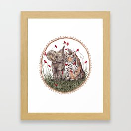 Tiger, Baby Elephant, and Mouse Playing in Poppies Framed Art Print