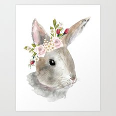 bunny with flower crown Art Print