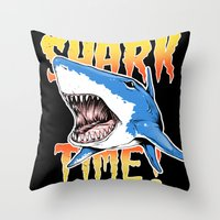 shark Throw Pillows featuring Shark by Silver Larrosa