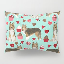 Sheltie shetland sheepdog valentines day love hearts cupcakes dog gifts puppies pet friendly art Pillow Sham