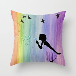 Rainbow Bubbles & Birds in the Wind Throw Pillow