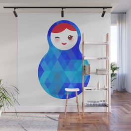 wink Russian doll matryoshka with bright rhombus on white background, blue colors Wall Mural