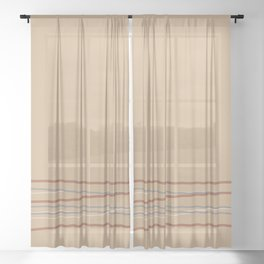 Beige / Tan / Khaki / Light Brown Solid Color with Minimal Scribble Stripes Bottom Sheer Curtain