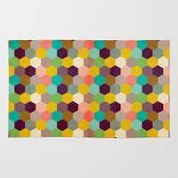 hexagon Area & Throw Rugs featuring Fun Hexagon by Louise Machado