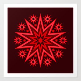 Fiery Red Flashing Fireworks Mandela Stars Art Print