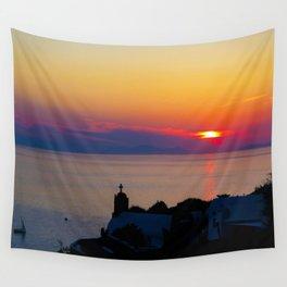Oia Sunset Santorini Wall Tapestry