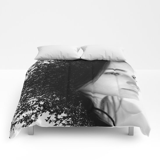 Double Exposure Portrait Comforters